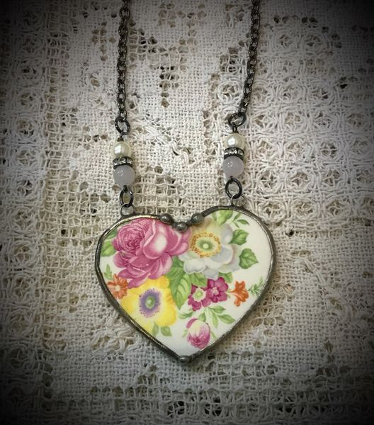 Vintage broken china heart medium size