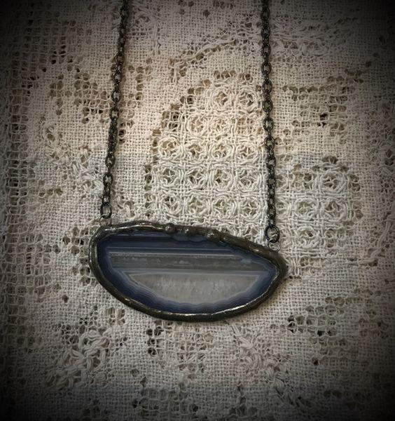 Boho slab stone necklace