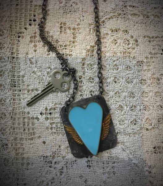 Blue resin heart and key