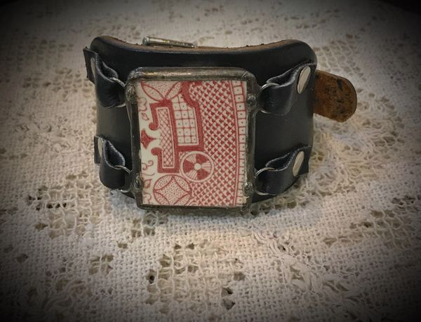 Red willow leather cuff