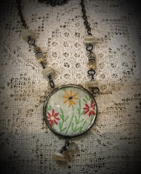 Round vintage linen necklace