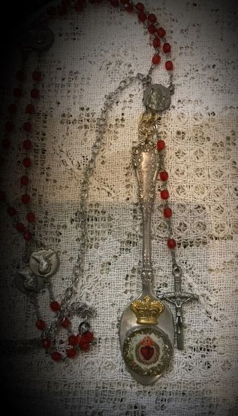 Rosary necklace spoon handle