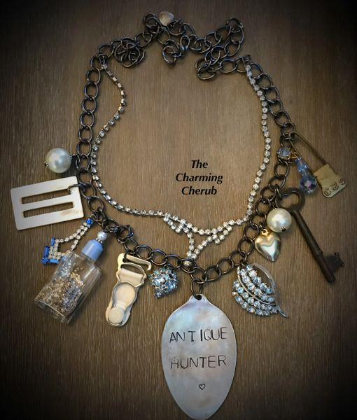 Junked up necklace blue
