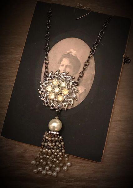 Rhinestone necklace tassel