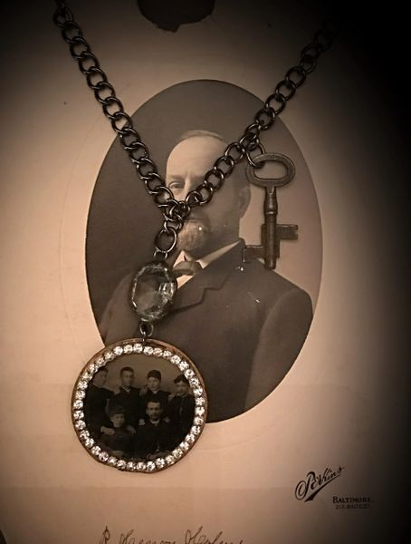 Pocket watch case with tin photo necklace