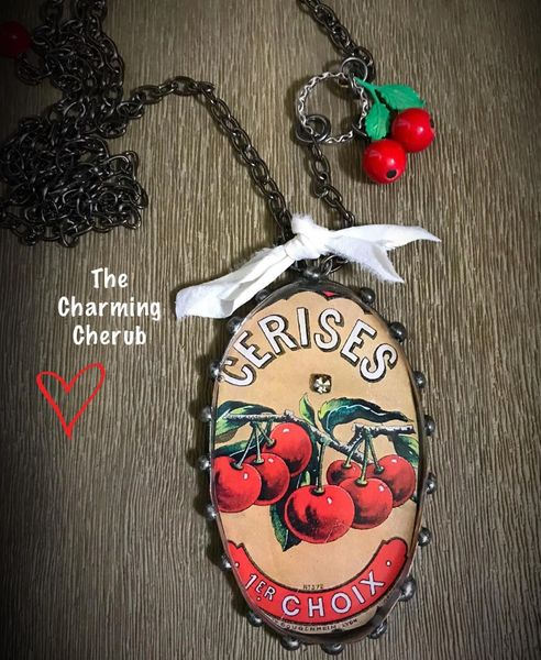 Cherry vintage label necklace