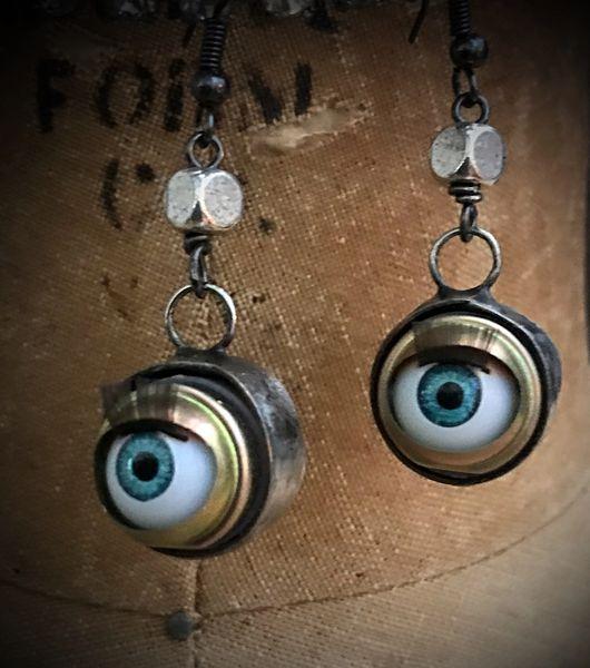 Vintage doll eye earrings