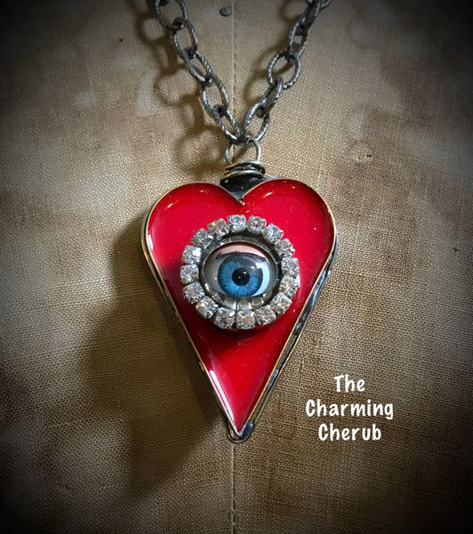 Vintage doll eye red heart necklace