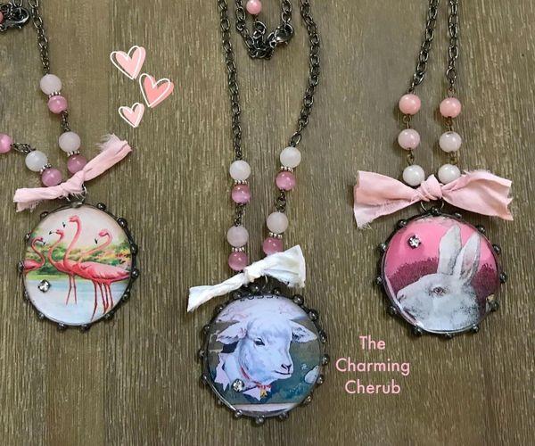 Rabbit sheep or flamingo necklace