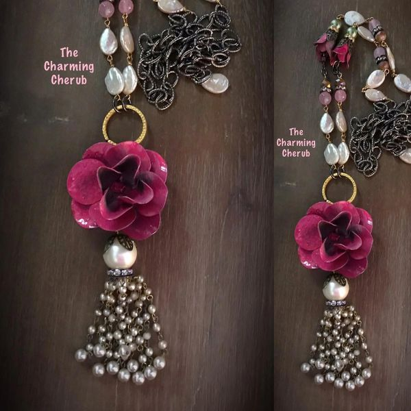Rose tassel necklace with pearls