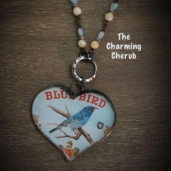 Heart bluebird necklace