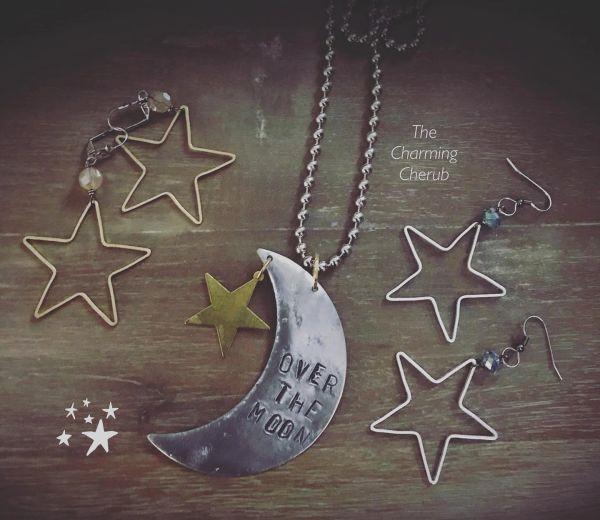 Over the Moon necklace with star ⭐️