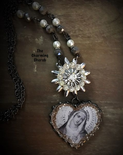 Grey tone Mary necklace
