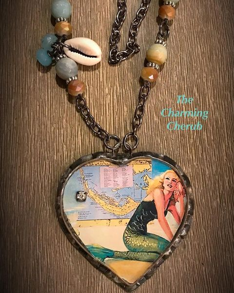 Mermaid with map necklace
