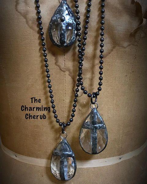 Vintage chandelier cross necklace