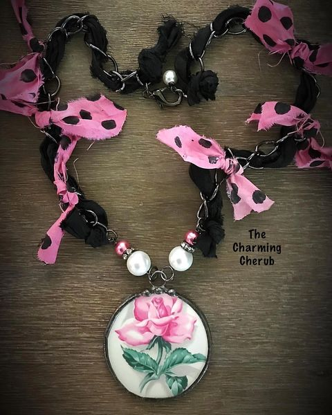 Broken china pink rose necklace