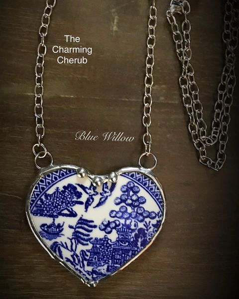 Broken china heart Blue Willow necklace