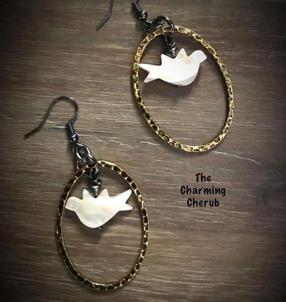 Mother of pearl bird earrings