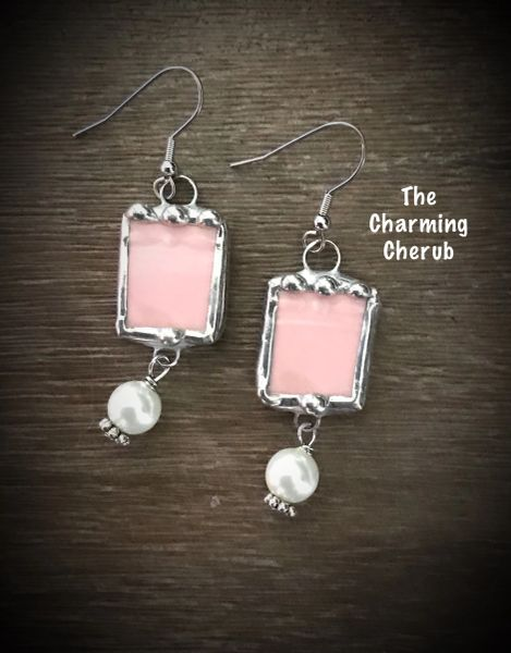 Broken china pink earrings