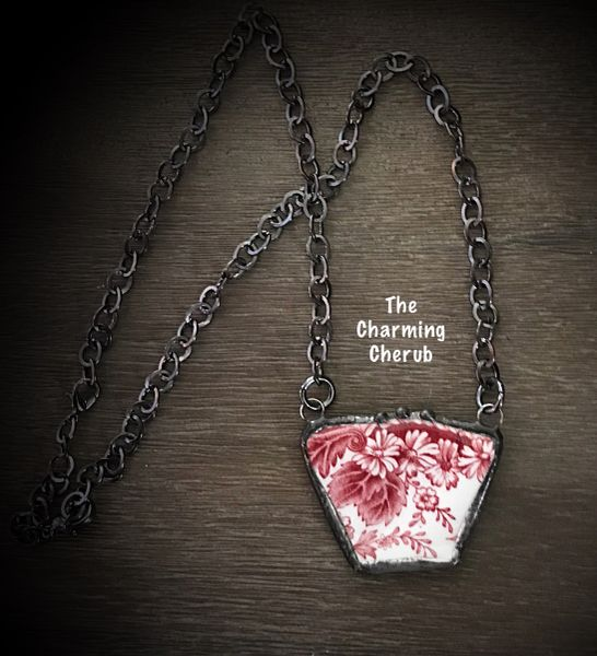 Broken china necklace red transferware