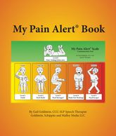 My Pain Alert Book cover.  Interior cover is word side of My Pain Alert Scale Plus.