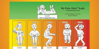 My Pain Alert Book cover with front of MPAS+ scale care.