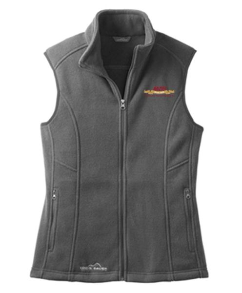 Eddie Bauer® Ladies' Full-Zip Fleece Vest Steel Grey MNB Logo