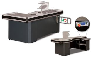 checkout counter, supermarket checkout conunters, casher counter, supermarket shelves, steel rack