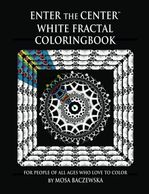 Coloring book cover -- for coloring fanatics. White on black fractals present coloring challenges.