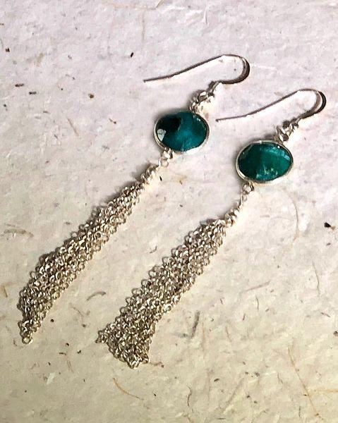 Emerald Earrings Gorgeous Genuine Emerald Gemstone Polished Rondelle Earrings in Sterling