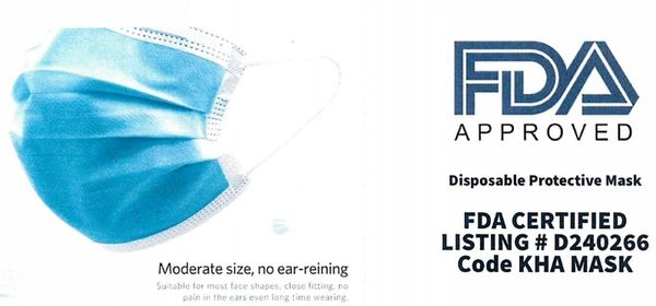 FDA-Approved Disposable Protective Masks (50 pcs/bx - 40bxs/cs)