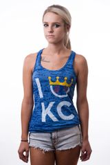 KC Flavor Blue Ladies Racerback Burnout Tank Top