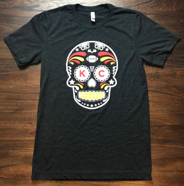 KC SugarSkull Unisex Super Soft Crew Tee Charcoal Black