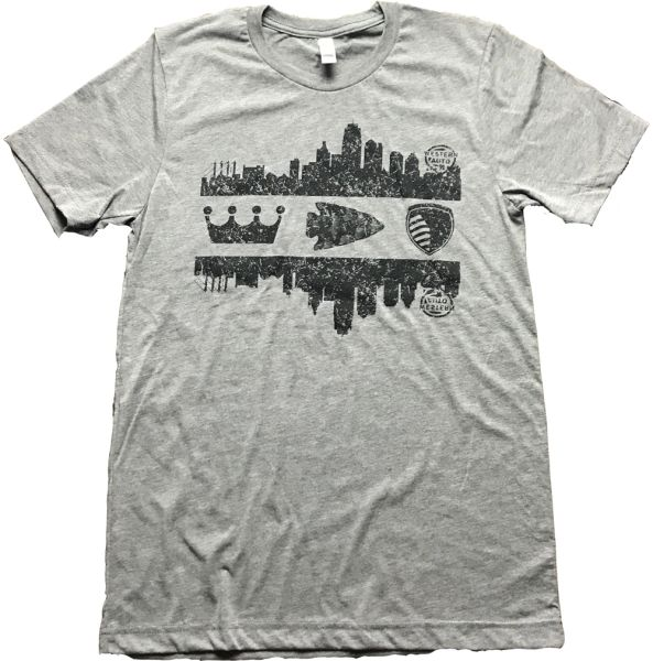 Youth KC Skyline Unisex Super Soft Gray Crew Tee