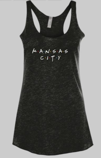 Friends KC Solid Black Raw Edge Triblend Tank