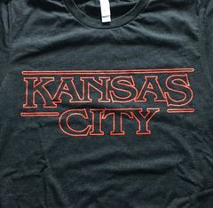 Kansas City Unisex Super Soft Crew Tee Charcoal Black with Fireball Red