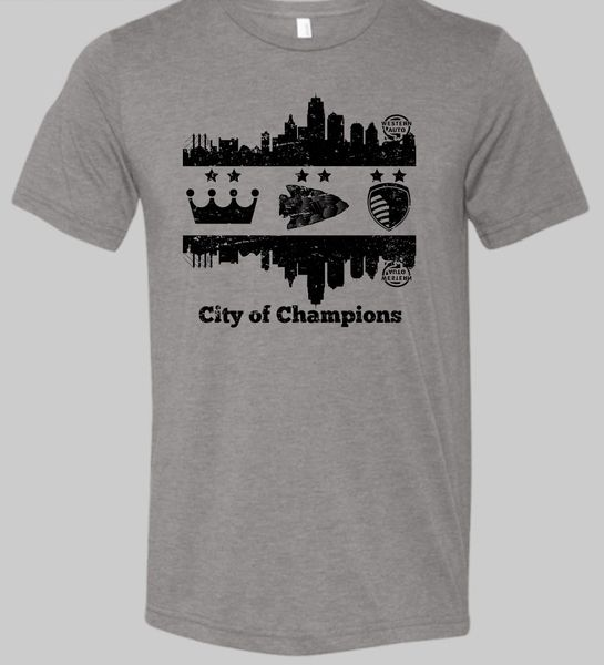 KC Skyline City of Champions Crown Arrow Shield Unisex Super Soft Gray Crew Tee
