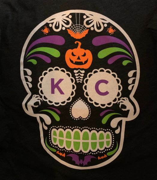 KC Halloween SugarSkull Unisex Super Soft Crew Tee Charcoal Black