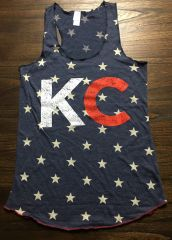 KC Merica' Raw Edge Tank Navy, Red, or Gray with Stars Super Soft