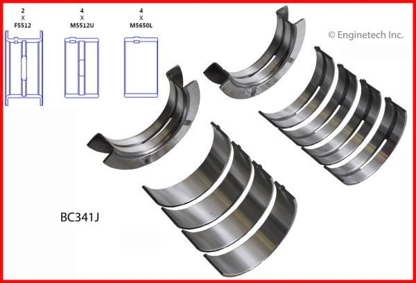 Main Bearing Set (EngineTech BC341J) 68-98