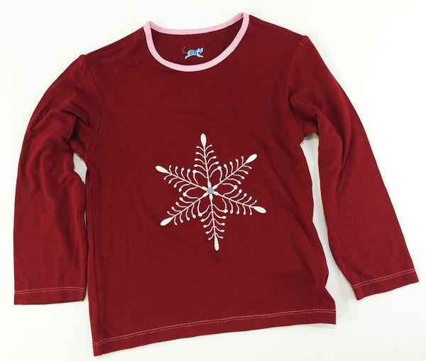 girls long sleeve snowflake t