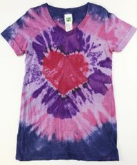 girls short sleeve heart tie-dye