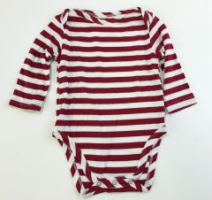 baby onesie long sleeve red/white stripes