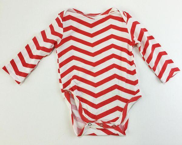 baby onesie long sleeve coral chevron
