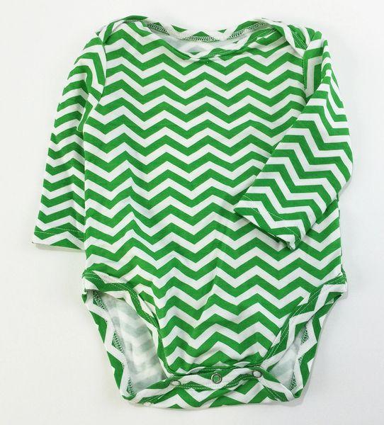 baby onesie long sleeve green chevron