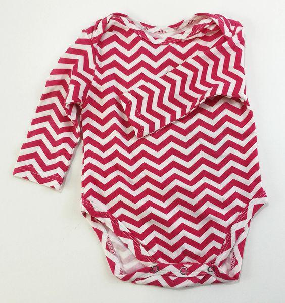 baby onesie long sleeve pink chevron