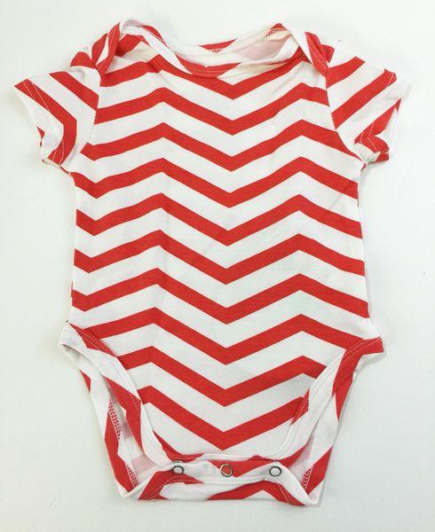 baby onesie short sleeve coral chevron