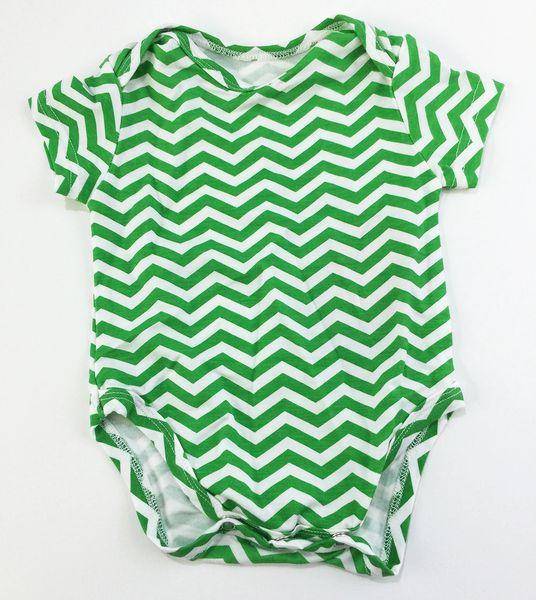 baby onesie short sleeve green chevron