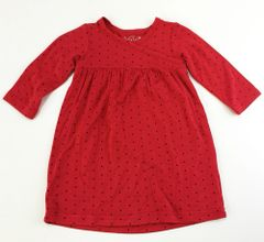baby long sleeve dress red w/ black dots