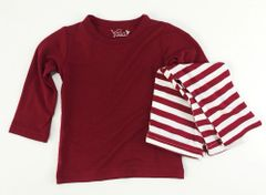 baby long sleeve pj set red w/ red/white stripes